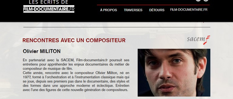 Interview for film-documentaire.fr, Olivier Militon